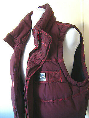 Large mens Superdry gilet body warmer jacket maroon very thick heavy warm 1.4kg