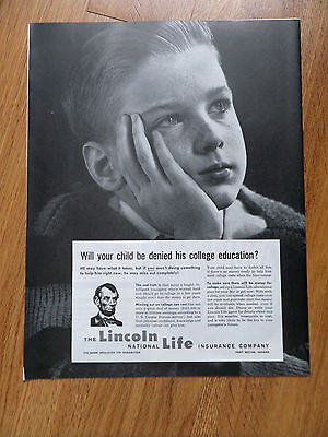 1962 Lincoln National Life Insurance Ad Will Your Child Be Denied College