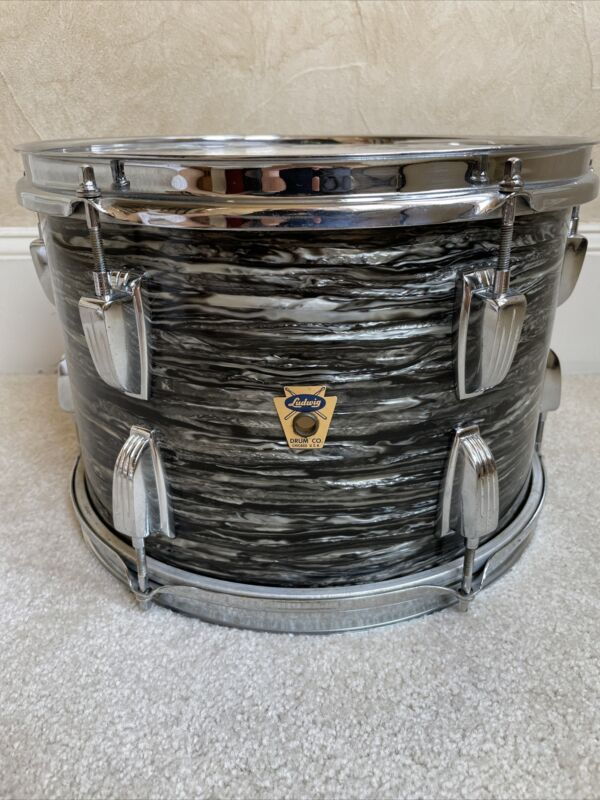 "Rare 1960 60s Transition Ludwig 13"" BOP Black Oyster Pearl Tom Drum Brass Hoops"