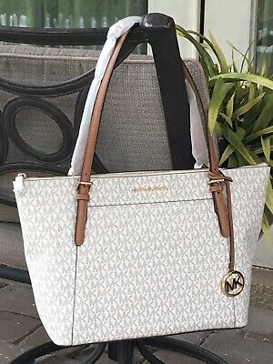 MICHAEL KORS CIARA LARGE TOP ZIP TOTE SHOULDER BAG VANILLA MK SIGNATURE $398