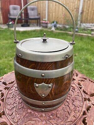 Antique Vintage English Oak Porcelain Barrel Ice Bucket