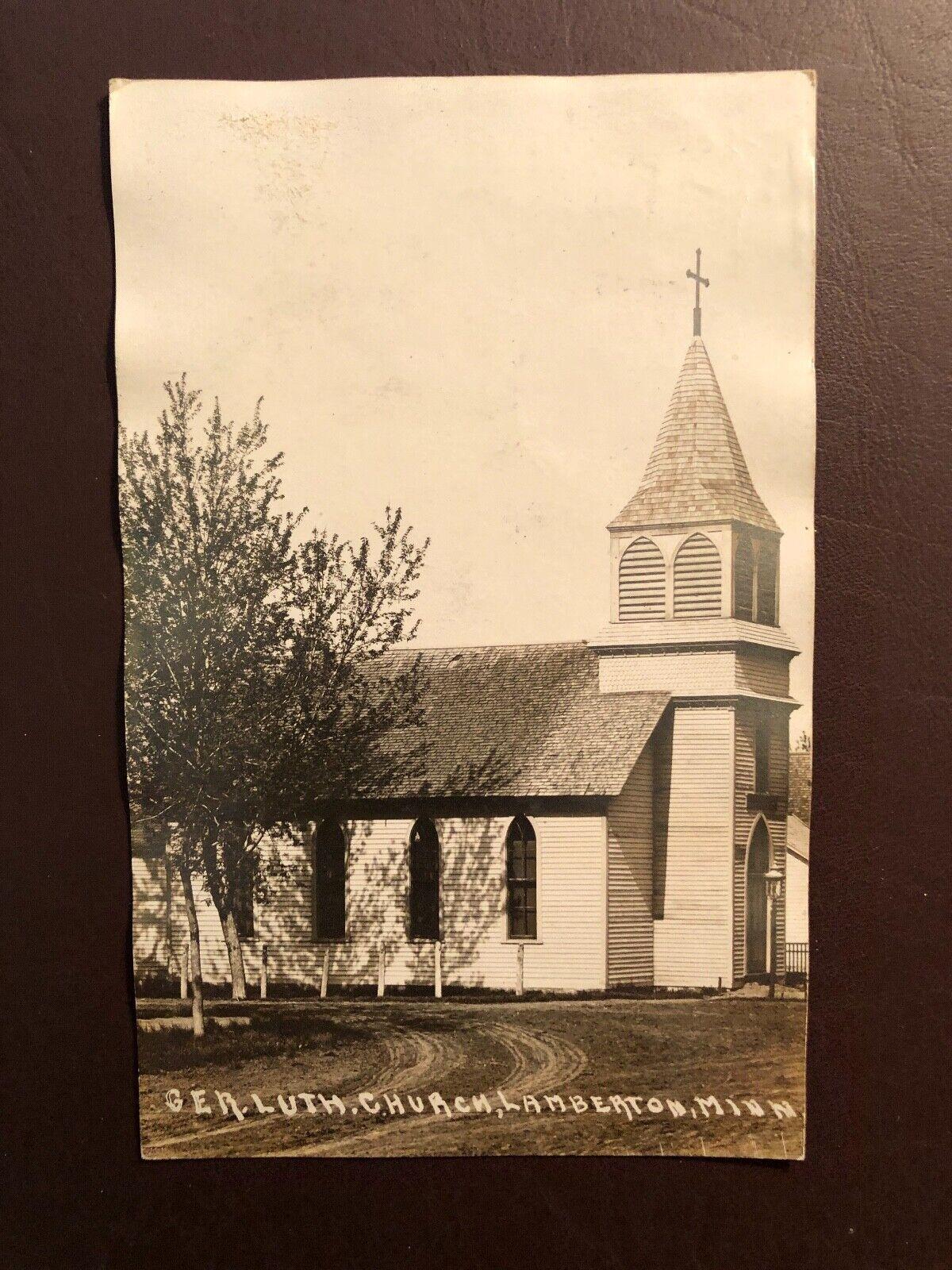 Postcard German Lutheran Church, Lamberton, Minnesota 1909