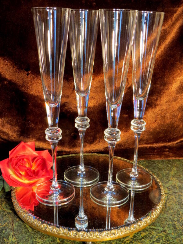 """4 RARE SUPER TALL 13"""" Crystal Champagne Wine Flutes Curved Stems DOUBLE RINGS!"""