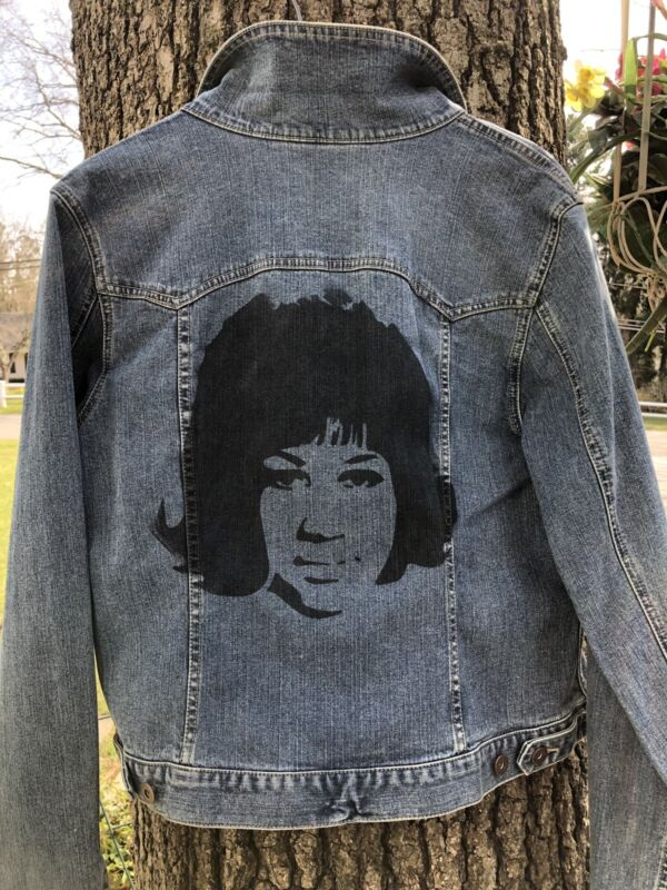 Custom Made Jean Jacket Hand  Painted Stencil Of Aretha Franklin Womens Large