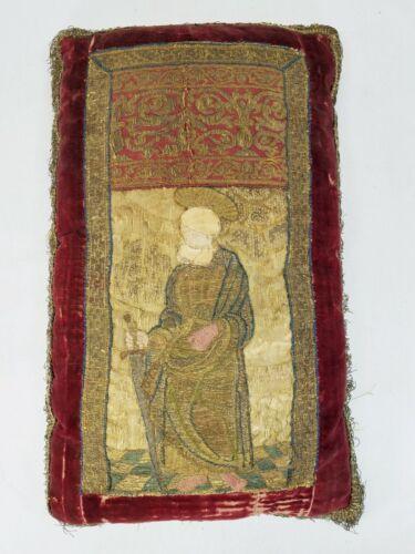 Antique 17th 18th c. Venetian Fortuny Red Velvet Gold Thread Pillow St. Michael
