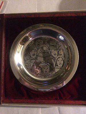 Peerless Silver NORMAN ROCKWELL Christmas Plate THE CAROLERS Franklin Mint 1972