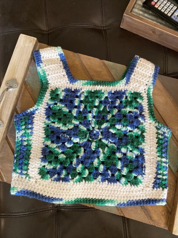 Vintage 1970s Hand Crocheted Girls Vest  Green Navy Blue & White. About Size 5-7