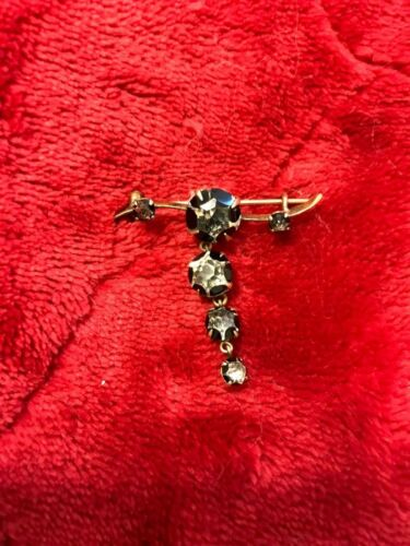 Victorian Mourning Paste Gold Brooch Pin