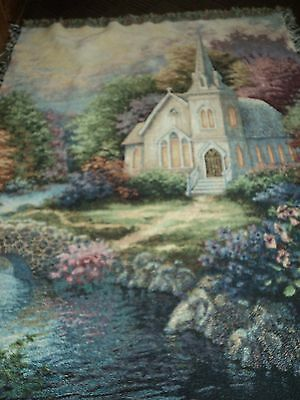 NICKY BOEHME.CHURCH.FLOWERED GROUNDS.CREEK WITH ROCK BRIDGE.WOVEN.AFGHAN/THROW.