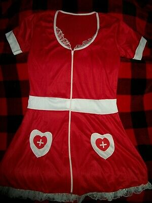 Naughty Nurse Halloween (2 pc. Naughty Nurse Cute Red/White Fancy Dress Up Halloween Sexy Adult)