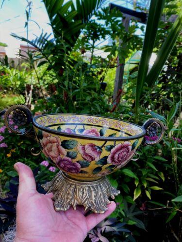Chinese Bronze Brass Ormolu Mounts Porcelain Bowl  FREE SHIPPING
