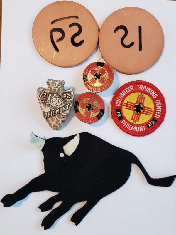 Lot Boy Scout Philmont Ranch Items Bull Neckerchief Slides Leathers