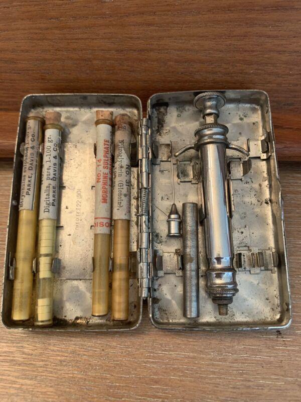 Antique Syringe Medicine Morphine Kit German Silver 1901