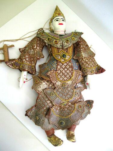 "Antique Burmese 24"" Marionette Puppet Tha-Gyar-Min or Indra Highly Adorned"