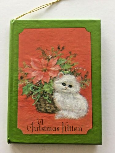 Vintage A Christmas Kitten Miniature Book Ornament White Persian Cat Taiwan