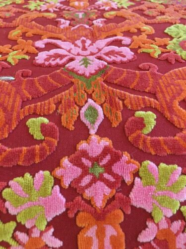 "VIBRANT BATES Vintage Pink Cut VELVET TAPESTRY BEDSPREAD Queen Size 106X114"" Tag"
