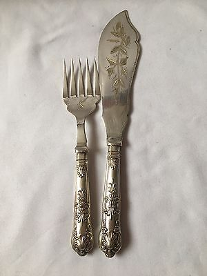 Vintage Sheffield Silver Plated EPNS Fish Serving Fork And Knif