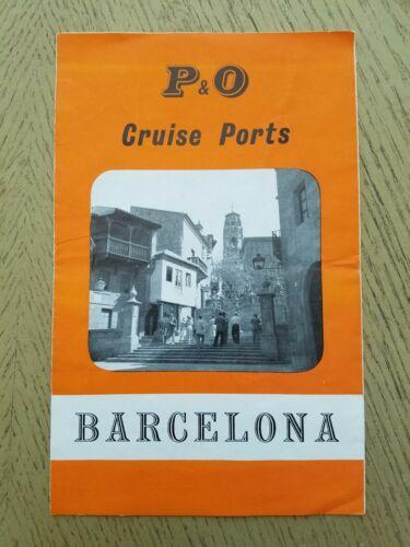 VTG 1950s P&O Cruise Ports Ship Barcelona Spain Sights Directory Brochure Map