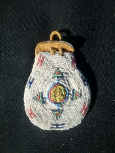 Plains Indian native American beaded bag good and old