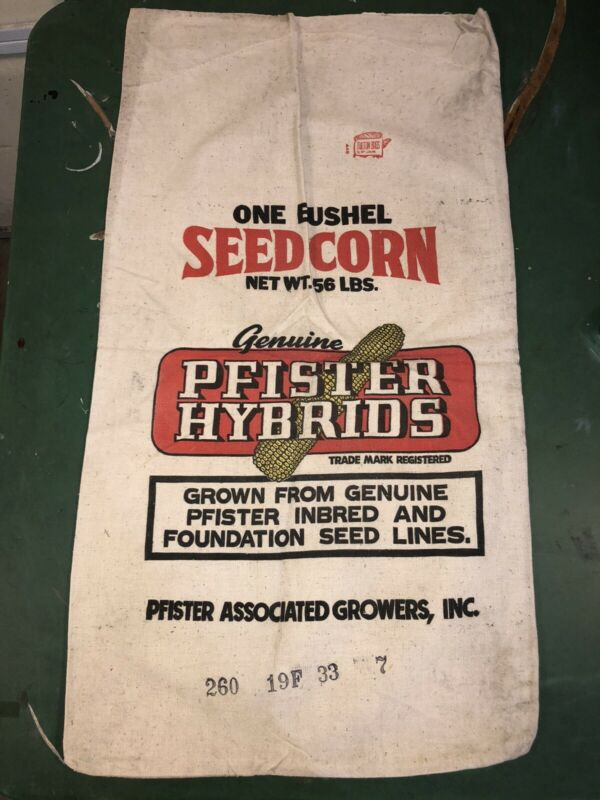 Vintage Seed Corn Bag Sack Genuine Pfister Hybrids One Bushel Associated Growers