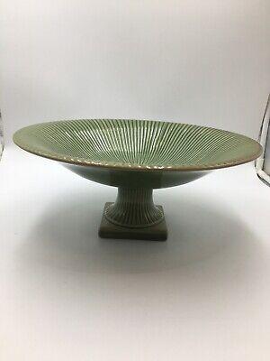 Large Centerpiece Pedestal Bowl Glazed Terra Cotta -