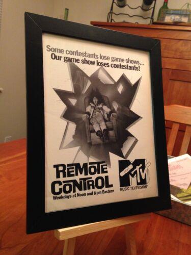 """FRAMED ORIGINAL 1988 MTV """"REMOTE CONTROL"""" GAME SHOW MAGAZINE PROMO AD"""