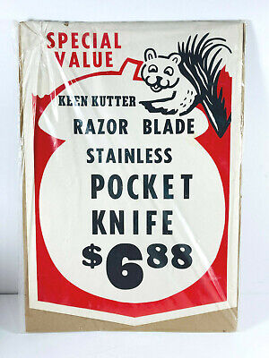 Vintage Keen Kutter Fall Store Display Advertising Sign Pocket kNIFE