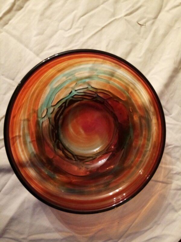 Mdina glass bowl swirl orange red turquoise