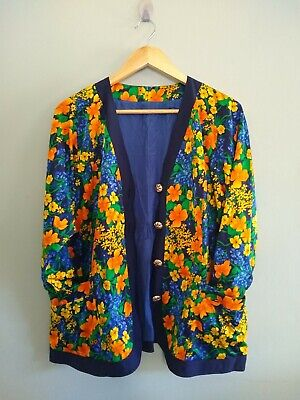 Vtg 1980's Silky Navy Orange Yellow Oriental Floral Jacket/Blazer/Kimono 14-16/L