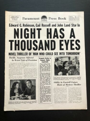 """Night Has a Thousand Eyes Movie Pressbook (1948) - 18 Pages - 12"""" x 15"""" VG"""