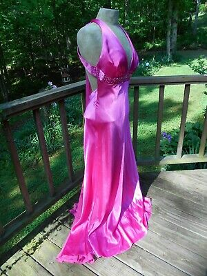 Hot Pink Old Hollywood Style Formal Holiday Evening Party Prom Dress size S - 8