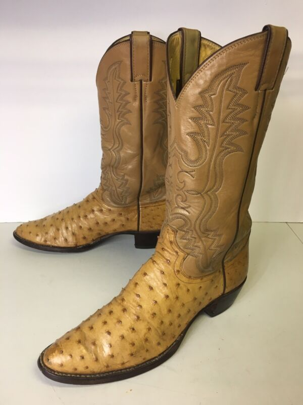 VINTAGE, JUSTIN, FULL, QUILL, OSTRICH, EXOTIC, LEATHER, WESTERN, COWBOY, BOOTS, MEN'S, 10B