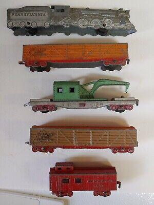 Vintage Tootsie Toy Train Pennsylvania Railroad Locomotive & 4 Cars
