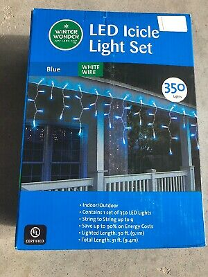 350 LED Mini String Lights Set Blue Icicle White wire bulk lot Wedding party