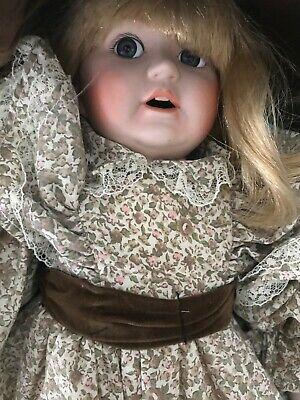 Victoria VINTAGE Porcelain Doll with brown dress and bonnet toothy grin