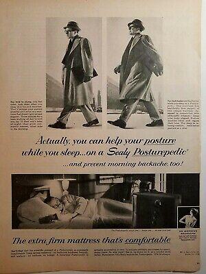 1955 Sealy Posturepedic Extra Firme Colchón Cómodo Ayuda a Postura Anuncio
