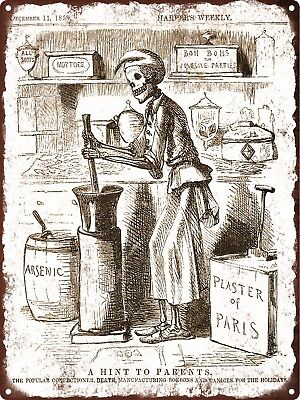 1858 Halloween Skeleton Candies Bon Bons Health Metal Sign Repro 9x12