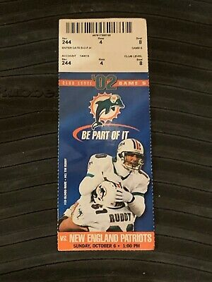 2002 Miami Dolphins v New England Patriots Football Ticket Tom Brady 2 TDs