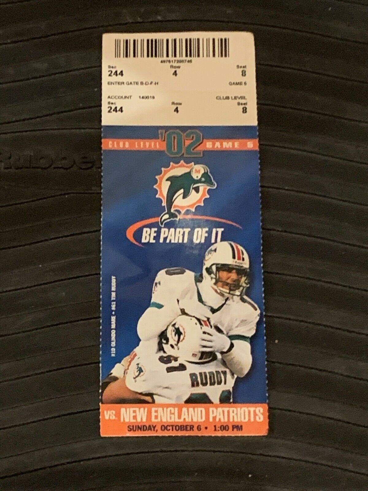2002 Miami Dolphins v New England Patriots Football Ticket Tom Brady 2 TDs