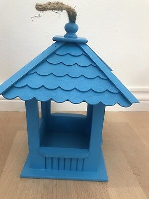 Bird Feeder: Beautifully Hand Crafted Blue Wood Gazebo