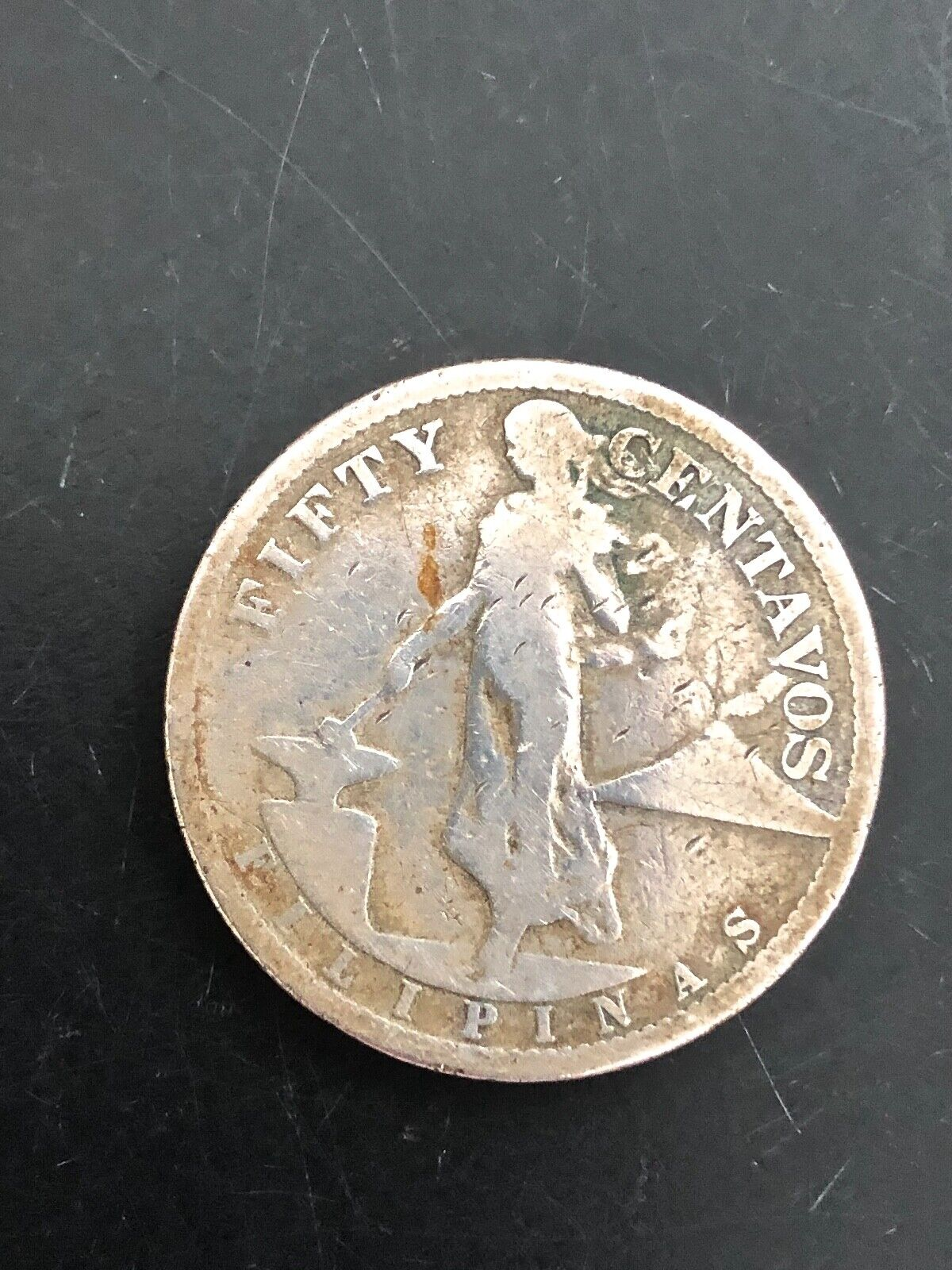 OLD SILVER COIN Lowball 1907 Philippines Fifty Centavos  - $0.99