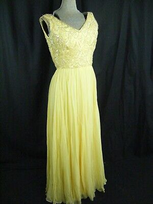 Mardi Gras New York Vtg 60s Schwer Perlen Gelb Chiffon Dress-Bust 35/2XS-XS