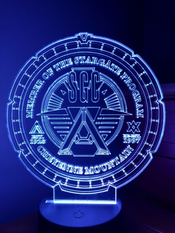 Stargate SG1 acrylic LED night light,3D lamp with remote 16 different colors