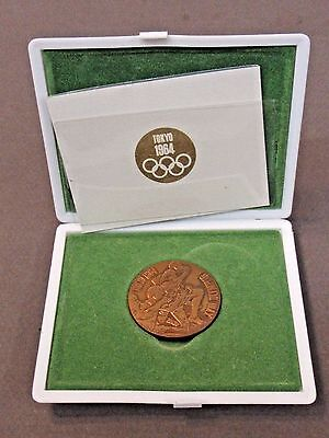 1964 TOKYO OLYMPIC GAMES copper coin medal & original case