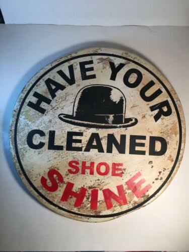 Shoe Shine/ Hat Cleaning vintage wood sign, round, hand made and painted