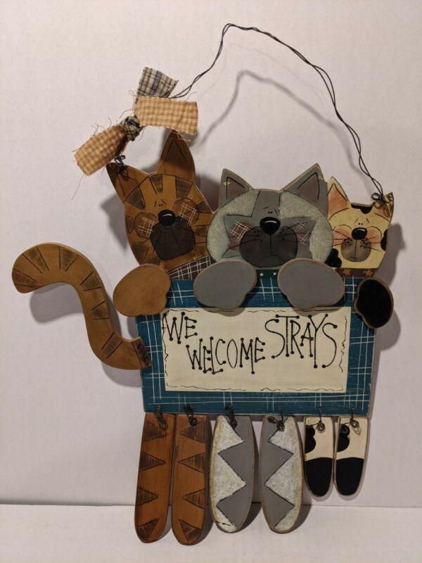 Cat Wooden Plaque. We Welcome Strays