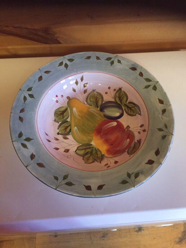 Vintage Heritage Mint Black Forest Fruits 16 Inch Pasta/Serving Bowl