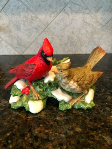 Homco Porcelain Bird Figurine Cardinals Christmas Theme #5307