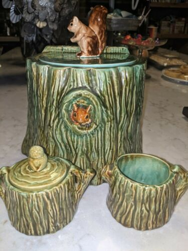VERY RARE - VALLONA STARR Log / Squirrel Cookie Jar SET - VERY RARE!!!
