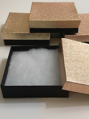 Lot Of 4 Rose Gold Black Cotton Filled Square Jewelry Gift Boxes